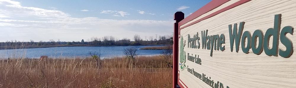 Harrier Lake entrance sign at Pratt's Wayne Woods