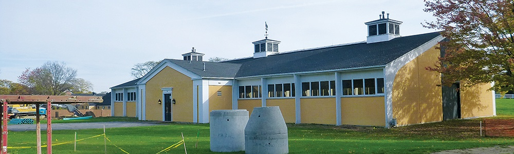 exterior of indoor riding arena at St. James Farm