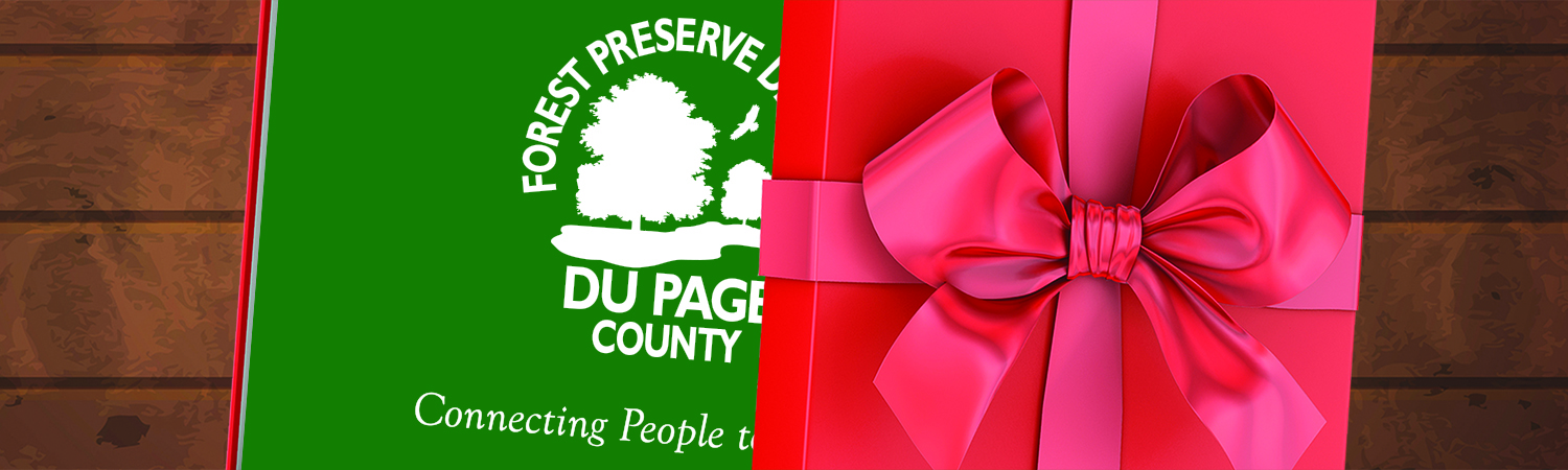 Forest Preserve District gift card in a red box with a bow